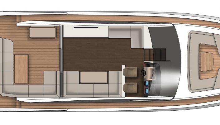 Targa 63 GTO (Extended Cockpit) Main Deck GA Galley Down